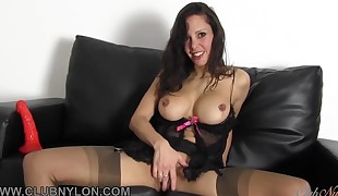 Dirty black-haired slut tears up her toy in entirely fashioned nylons