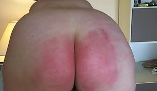 Severe belting crimson butt discipline with anal