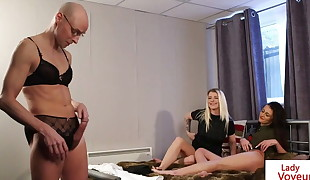 Duo instruct voyeurism perv to wank in lingerie