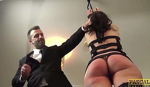 Splendid Brit crud gagged and dommed by huge cock
