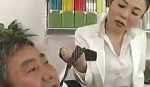 Asians Office Ladt Raunchy Strapon (censored)
