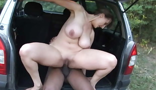 Mature With Titanic Bra-stuffers Fuck Outdoor With BBC