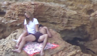Beach Voyeur - Young couple frolicking (pt2)
